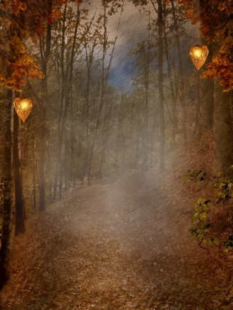enchanted forest: Enchanted nature series - autumnal pathway with fog