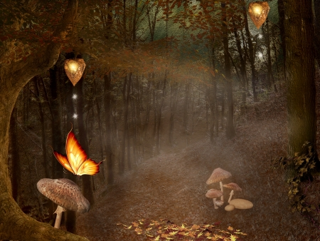 Enchanted nature series - autumnal enchanted pathway photo