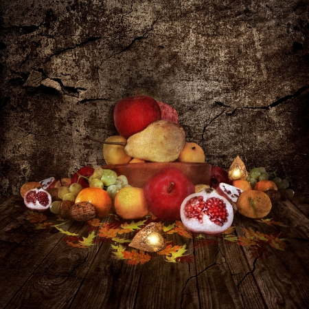Autumnal still life - digital paint and photo - manipulation Stock Photo - 16022929