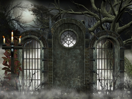 prison wall: ancient gate - gothic background  Stock Photo