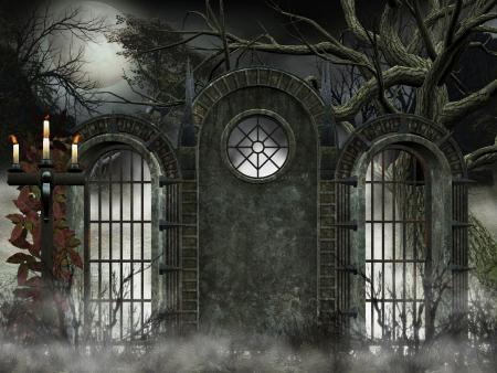antikes Tor - gotischen Hintergrund