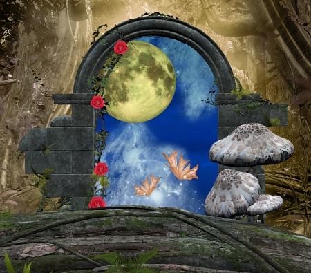 reign: Secret passage series - a romantic moon  Stock Photo