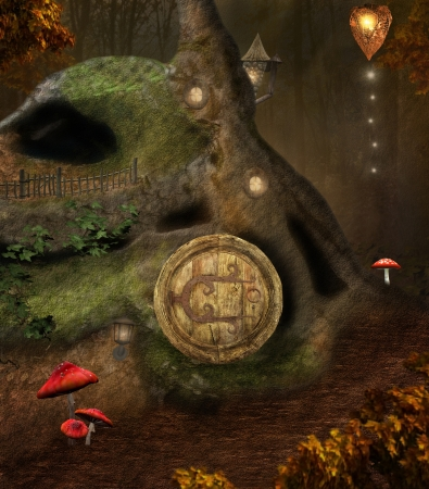 Midsummer night dream series - secret elves house - digital painted artwork photo
