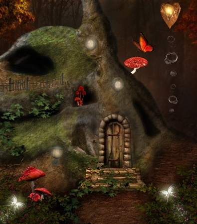 Midsummer night dream series - the secret place - digital painted artwork Stock Photo
