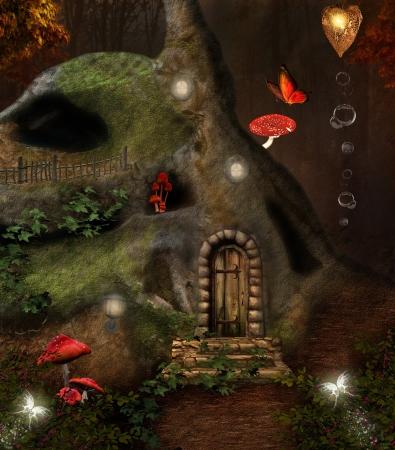 magic mushroom: Midsummer night dream series - the secret place - digital painted artwork Stock Photo