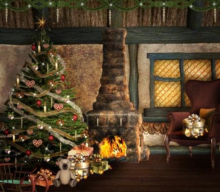 fireside: Christmas scene Stock Photo