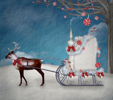Magic christmas sleigh Stock Photo - 16436240