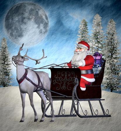 nocturne: Santa Claus on his sleigh