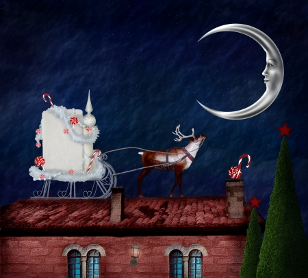 Christmas in wonderland series - Christmas sleight on an old roof Stock Photo - 16534152