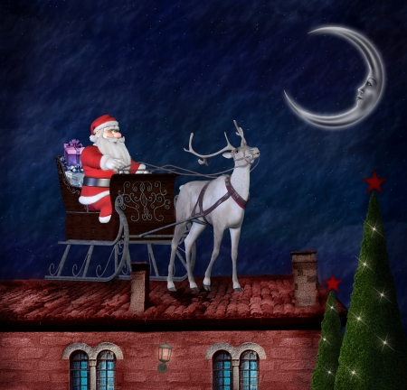 Santa Claus and his sleigh on an old roof photo
