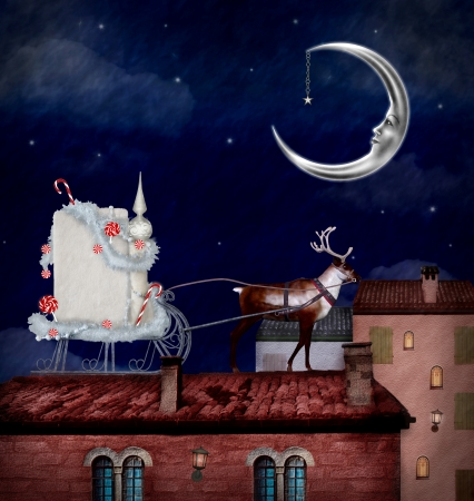 nocturne: Christmas sleigh in a fantasy village