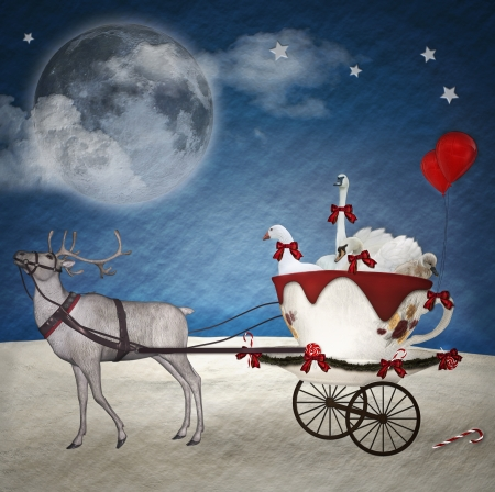handcart: Fantasy christmas illustration Stock Photo