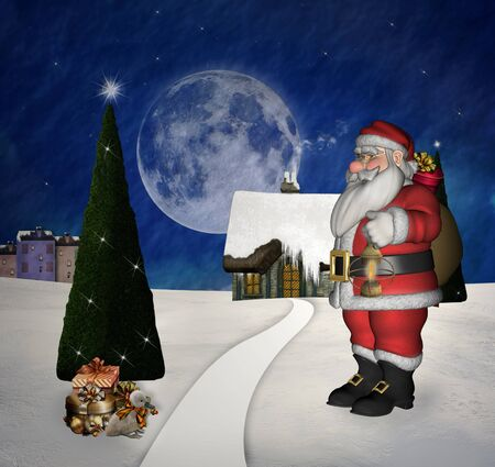 Santa Claus en un peque�o pueblo photo