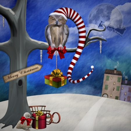 Christmas Owl - Digital Painted Illustration illustration