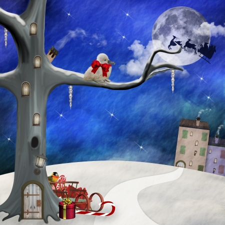 Fantasy Christmas Scenery - Digital Painted Illustration Stock Illustration - 16797356