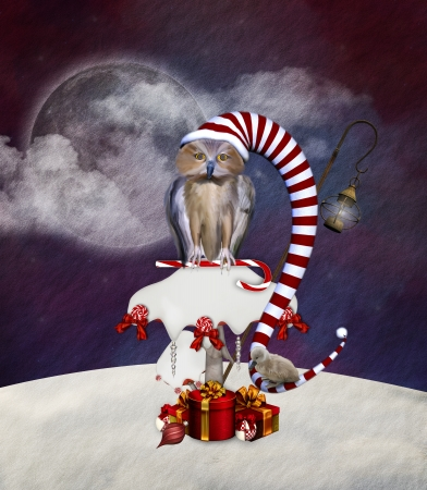 Wonderland series - Christmas owl on a mushroom Stock Photo - 16797387