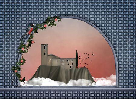 Old village - Digital painted artwork Stock Photo - 17090963