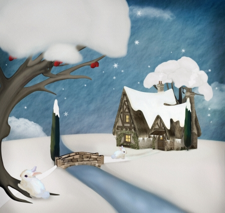 rivulet: Winter landscape with cottage Stock Photo