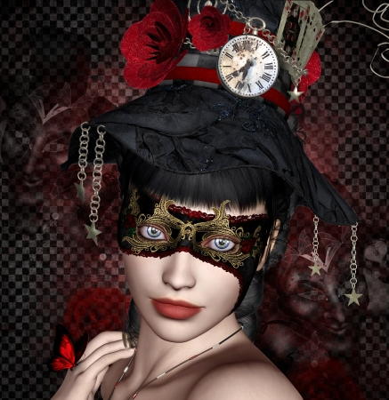 strange: Beautiful woman with black and red mask Stock Photo