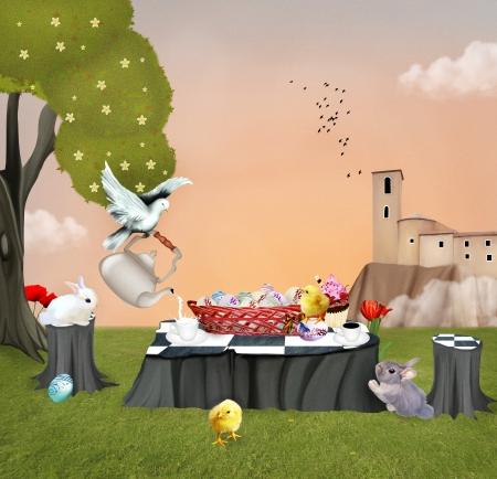 Easter scene - Digital painted illustration illustration