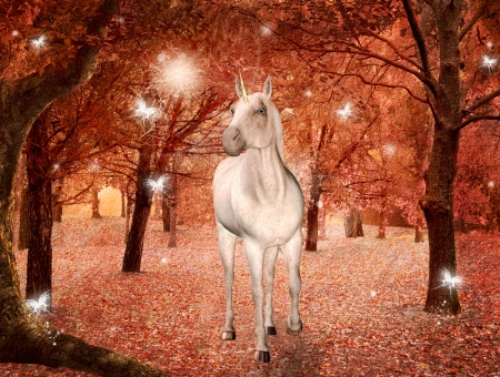 fireflies: Unicorn in an enchanted autumnal forest