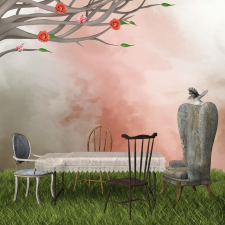 garden chair: Romantic table background