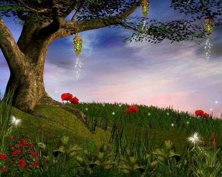 Enchanted nature series - Evening enchanted hill Stock Photo - 18217823