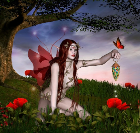 enchanted forest: The red fairy