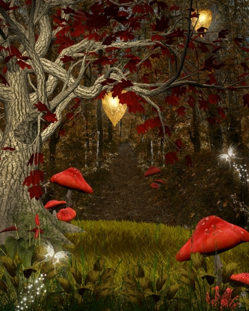 enchanted forest: Enchanted nature series - The red forest Stock Photo