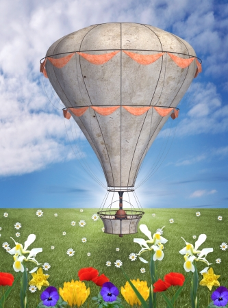 Hot air balloon in a spring meadow photo