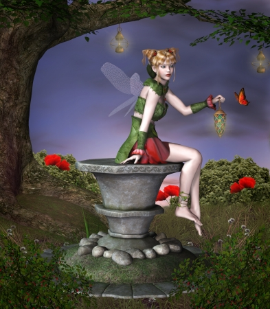 pedestal: Beautiful fairy sits on a pedestal