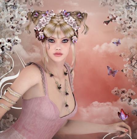 maquillaje fantasia: Ni�a de primavera Foto de archivo