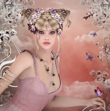 fairy woman: Spring girl