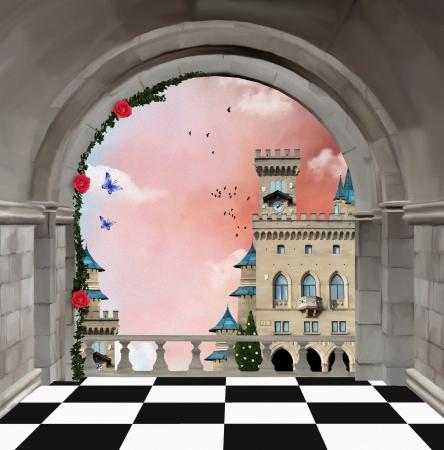 fantasy landscape: Castle balcony