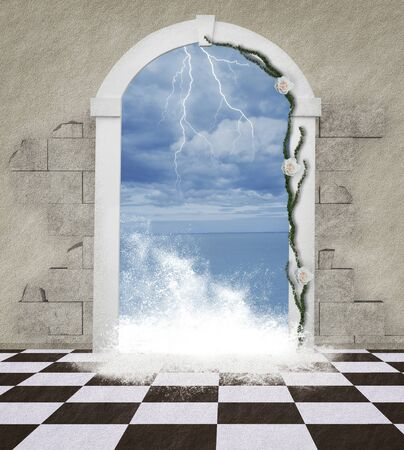 surrealism: The word through the door - Sea wave Stock Photo