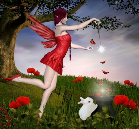 fairy woman: Beautiful enchantress Stock Photo