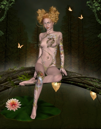 enchanted forest: Beautiful fairy sits on a trunk