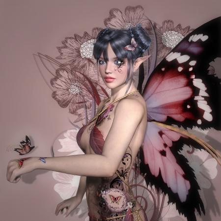 donna farfalla: Fata rosa