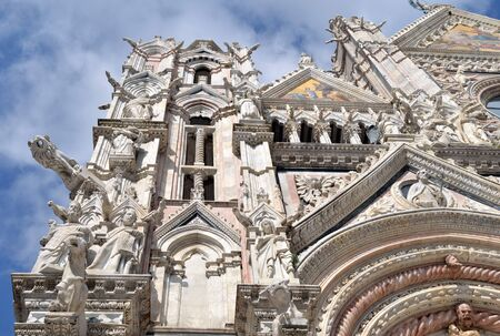 gothic window: Gargoyles and details on the Siena cathedral facade