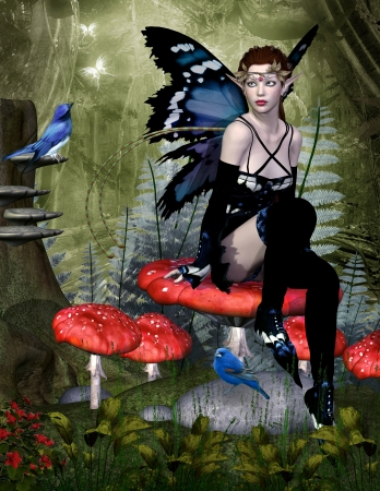 enchanted forest: Fairy sits on a mushroom Stock Photo