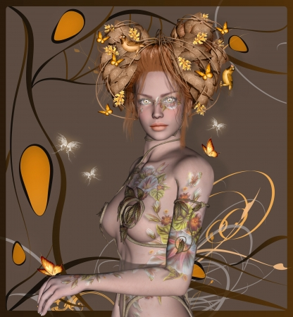 Beautiful woman with gold make up and leaves, butterflies and birds on her hair photo