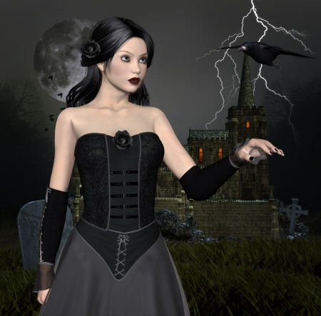 nocturne: Dark lady with crown Stock Photo