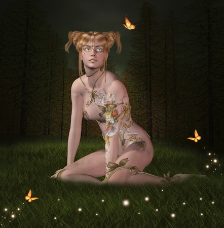 fireflies: The gold fairy into the wood Stock Photo
