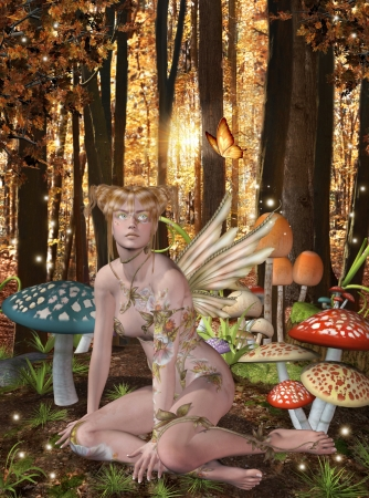 fantasy fairy: Gold fairy and colored mushrooms Stock Photo