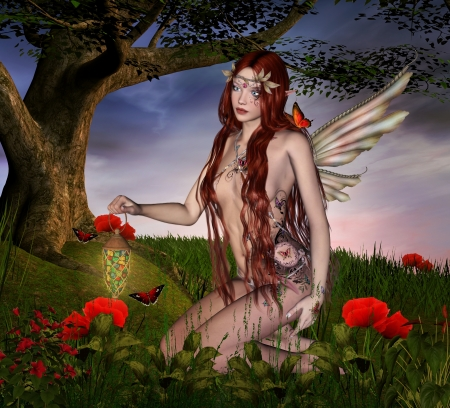 body paint: Catcher of butterflies Stock Photo