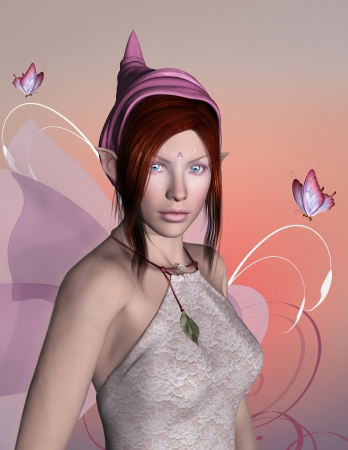 fairytale character: Pink elf Stock Photo