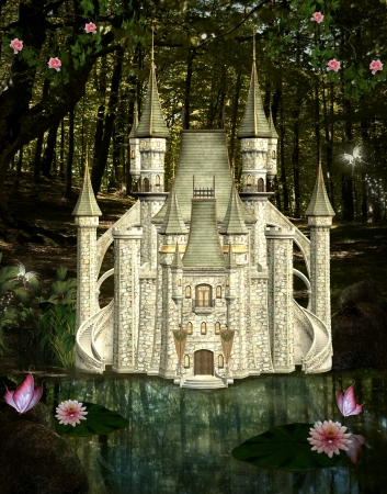 enchanted forest: Enchanted castle in the middle of the forest