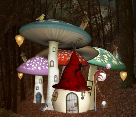 enchanted: Midsummer night dream series - Elves village Stock Photo