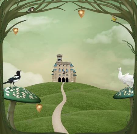 tales: Country fantasy landscape with castle over an hill