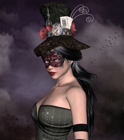 hair mask: Beautiful woman with bizarre hat and mask